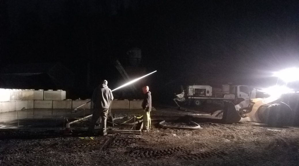 Pumping Concrete in the Dark